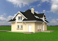 Архитектурный проект симпатичного дома с крыльцом и открытой террасой
