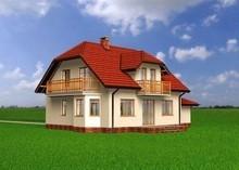 Проект красивого загородного дома с мансардой и балконом