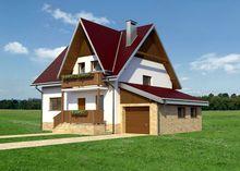 Компактный проект коттеджа с мансардой площадью 140 m² с гаражом