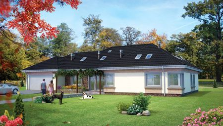 Большой одноэтажный коттедж более 150 m² с панорамными окнами и выходом в сад
