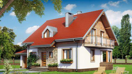 Красивый проект дома с гаражом и балконами