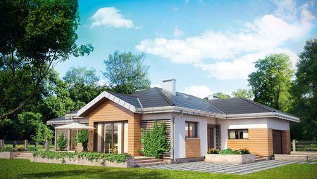 Красивый одноэтажный дом со встроенным гаражом на 2 авто