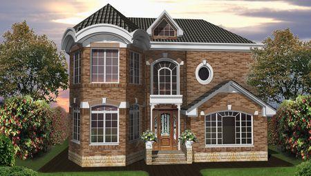 Интересный проект двухэтажного особняка с кирпичным фасадом