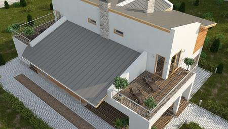 Проект комфортного загородного коттеджа с большой террасой на втором этаже и с односкатной кровлей
