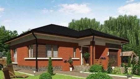 Проект небольшого особняка с кирпичным фасадом, со встроенным гаражом и сауной