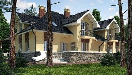 Проект большой шикарной виллы на две семьи с двумя террасами и двумя гаражами