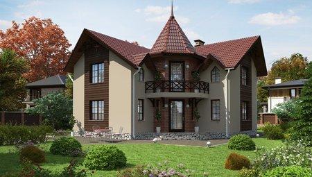 Двухэтажный дом с красивой крышей и угловым входом