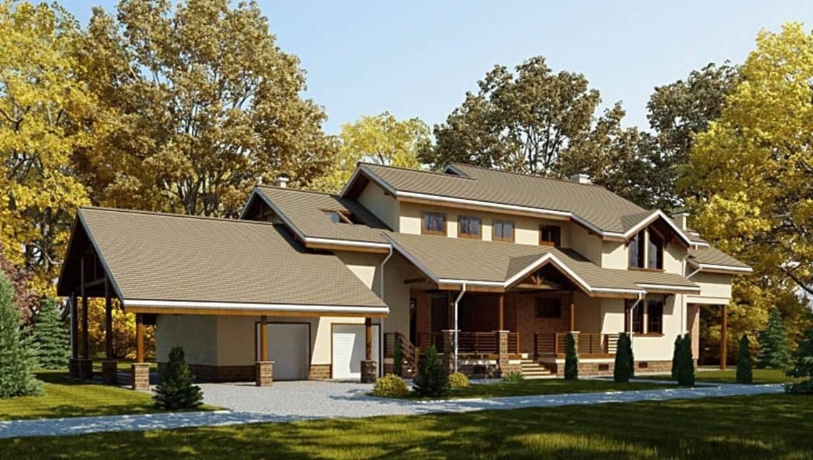 Красивый проект большого просторного дома с кирпичным фасадом и всеми удобствами