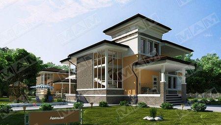 Красивый проект 2х этажного загородного коттеджа площадью до 300 m²