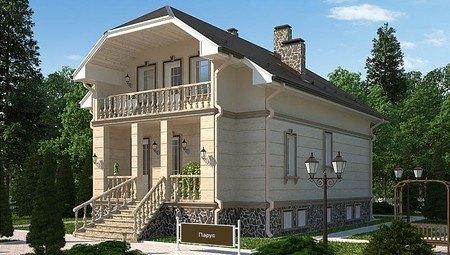 Красивый проект загородного жилого двухэтажного дома в старинном стиле