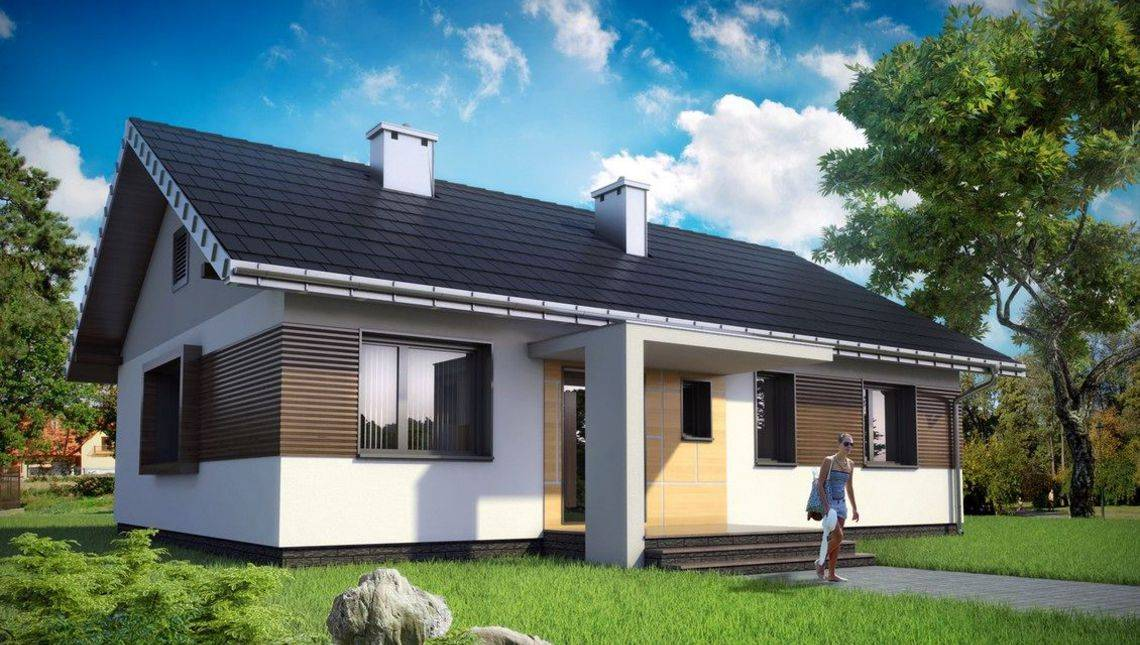 Одноэтажная загородная усадьба прямоугольной формы 13 на 10