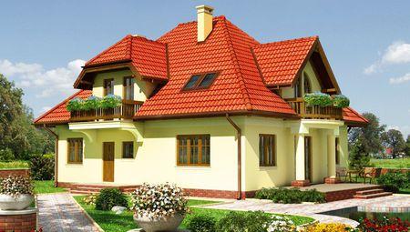 Красивый загородный коттедж с деревянными вставками