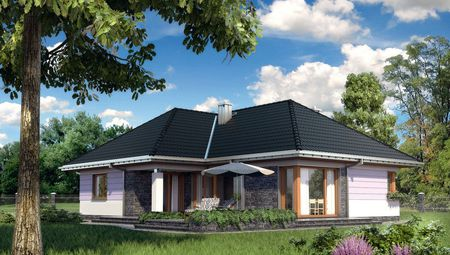 Уютный 1 этажный дом Т-образной формы