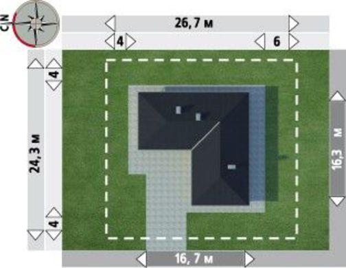 Загородный дом с пятью комнатами в форме буквы Г