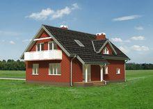 Интересный коттедж с балконом и простым дизайном