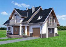 Архитектурный проект загородного коттеджа с изящными балконами