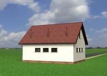 Проект гаража для 2 автомобилей с мансардой и балконом