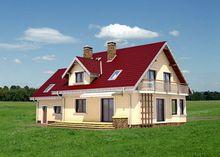Проект симпатичного дома с гаражом на две машины и эркером