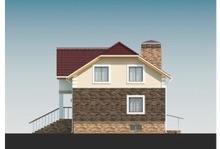 Приятный классический проект кирпичного дома с большим балконом над крыльцом
