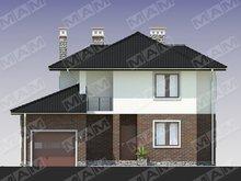Проект двухэтажного загородного дома со встроенным гаражом и кирпичным фасадом