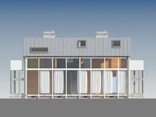 Современный дом с окном на всю стену и гаражом в подвальном этаже