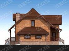 Красивый проект мансардного коттеджа с деревянной отделкой фасада