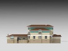 Красивый проект большого загородного жилого особняка с гаражом для 2 авто и бассейном