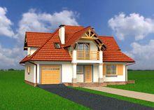 Интересный загородный дом с мансардой и балконами