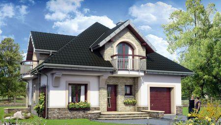 Симпатичный дом с небольшой верандой и гаражом