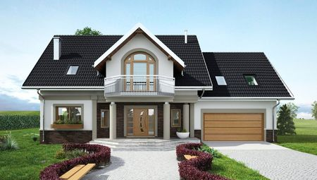 Роскошный загородный дом с мансардой, эркером и стильной террасой