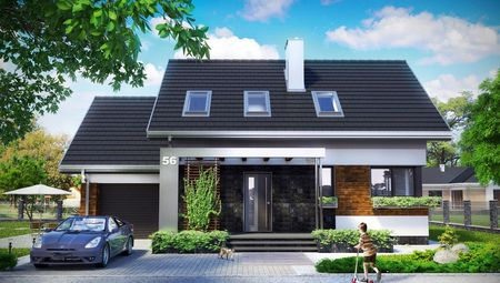 Интересный проект дома с гаражом с тремя спальнями в мансарде
