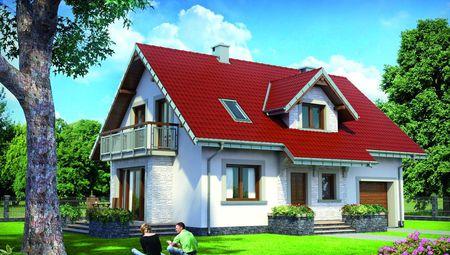 Проект для строительства мансардного коттеджа 170 m² с пристроенным гаражом