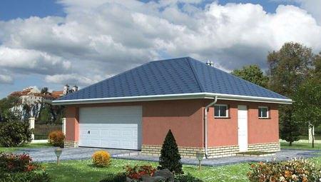 Проект гаража на 1 автомобиль с многоскатной крышей