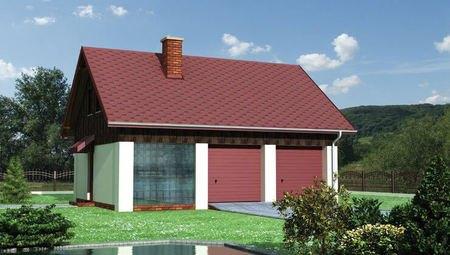 Проект одноэтажного здания с гаражом на 2 авто