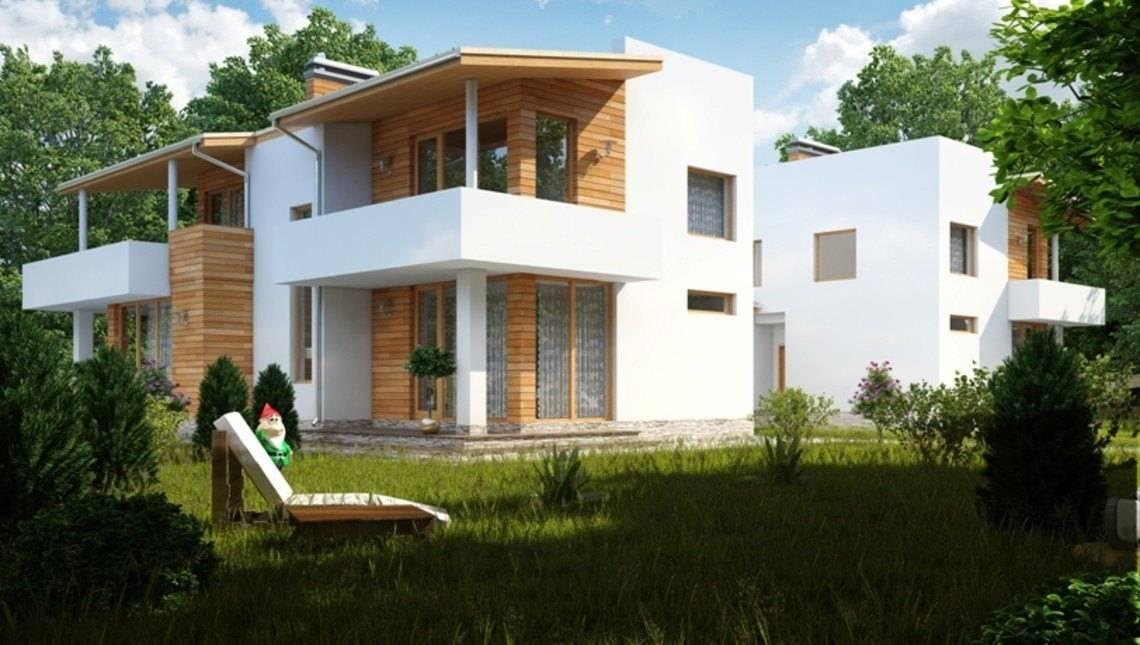 Проект большого современного коттеджа на две семьи