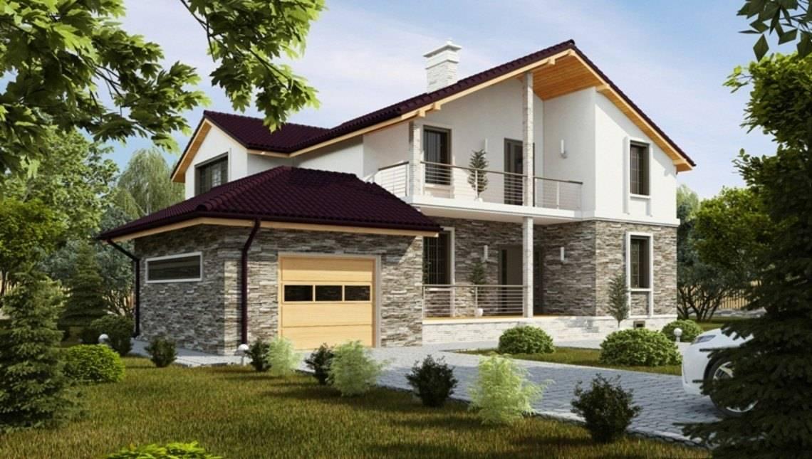 Проект двухэтажного коттеджа с кирпичным фасадом и просторной террасой