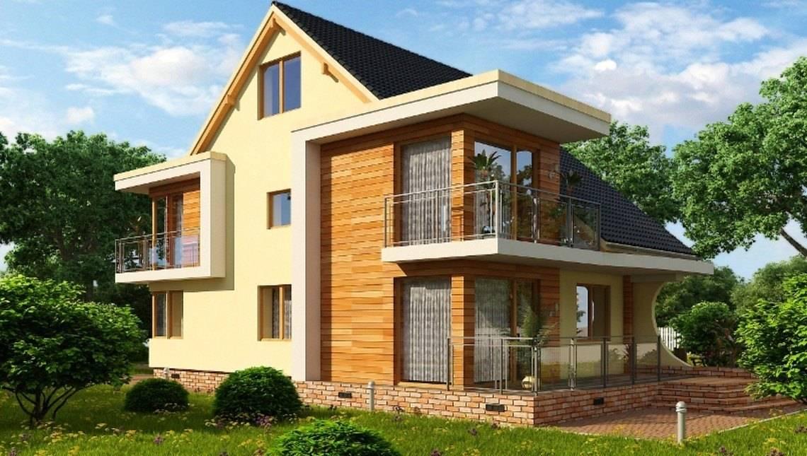 Оригинальный проект мансардного коттеджа с чердаком и огромным балконом