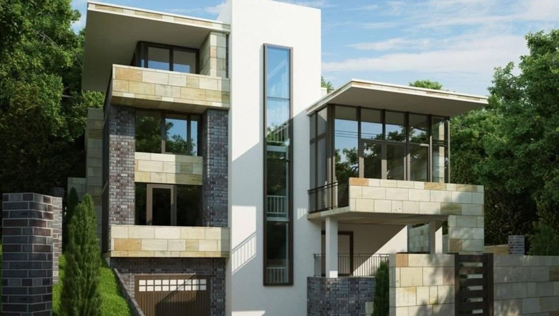 Проект элегантной трехэтажной виллы с цокольным этажом для наклонного участка