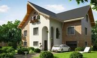 Проект большого трехэтажного коттеджа в классическом стиле с кабинетом над гаражом