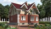 Небольшой уютный особняк с цокольным этажом и с кирпичным фасадом