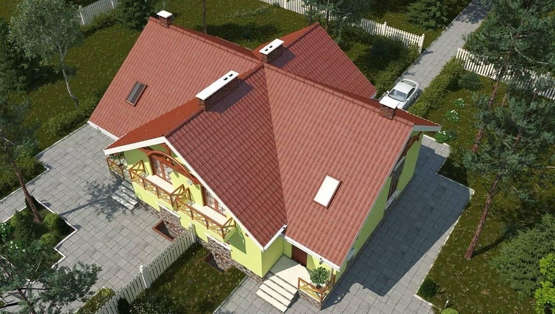Небольшая загородная вилла с многоскатной крышей