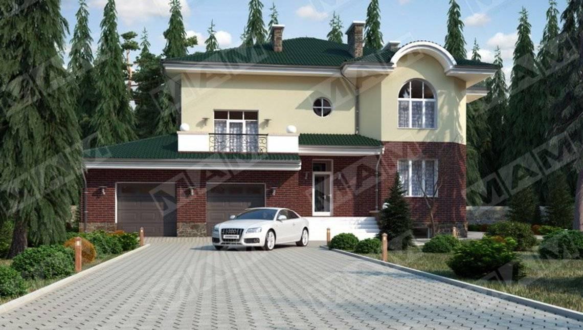 Проект виллы в классическом стиле с цокольным этажом и гаражом на две машины