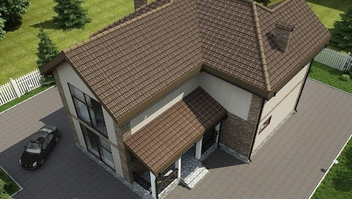 Большой двухэтажный дом с панорамными окнами и красивым балконом