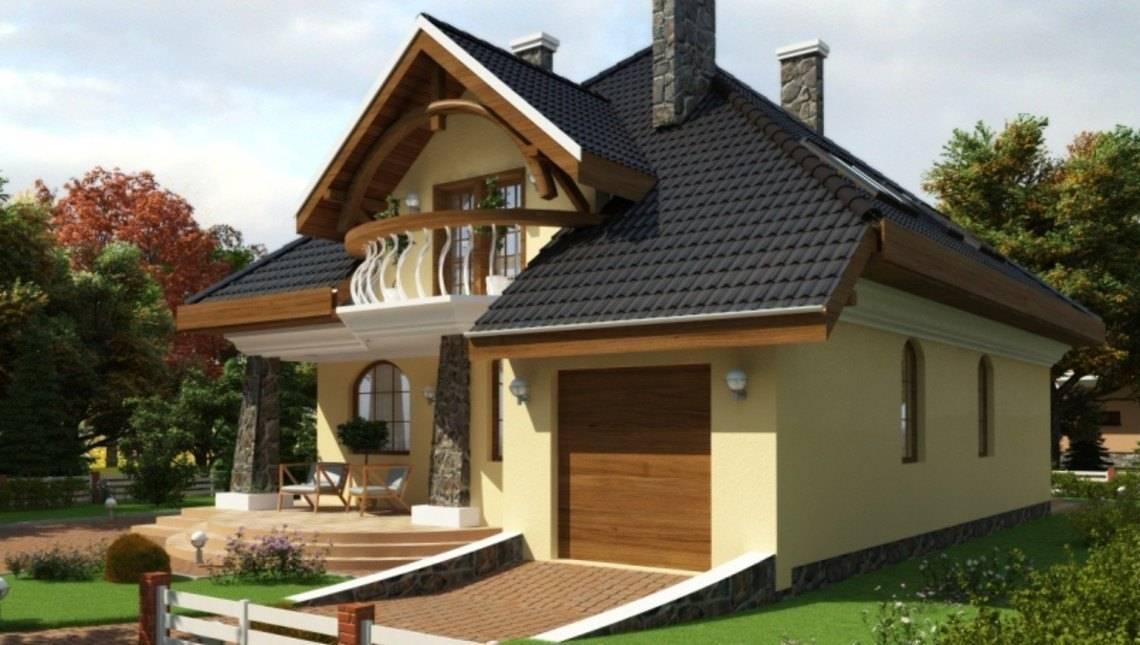 Проект просторного коттеджа с круглыми балконами и гаражом