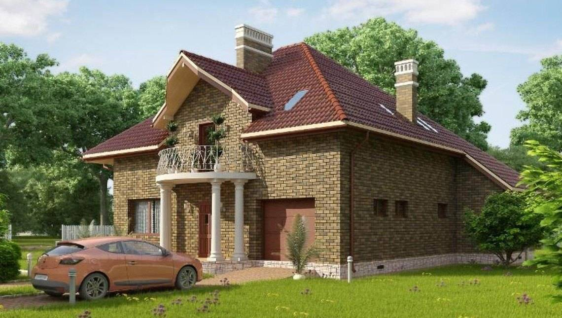 Двухэтажный загородный дом с гаражом и кирпичным фасадом