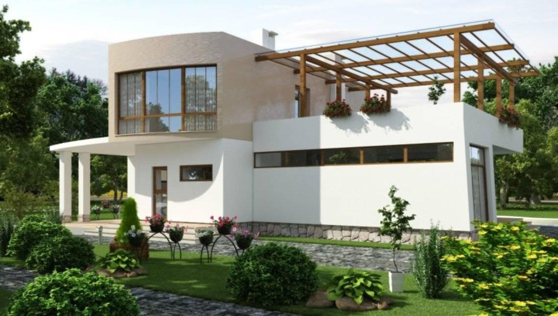 Загородный коттедж в стиле хай-тек с тремя спальнями на втором этаже и огромной террасой