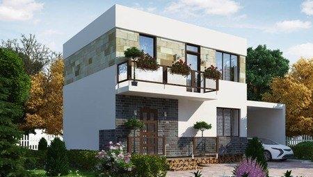 Проект компактного двухэтажного коттеджа с плоской крышей