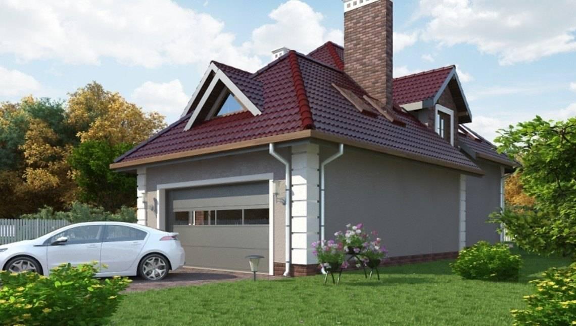 Проект просторного особняка с мансардой и гаражом на 2 авто