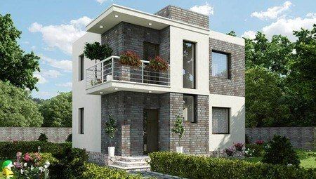 Проект компактного современного двухэтажного дома