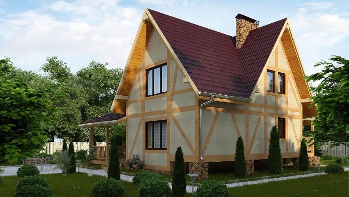 Дом с мансардой в каркасном исполнении в стиле шале